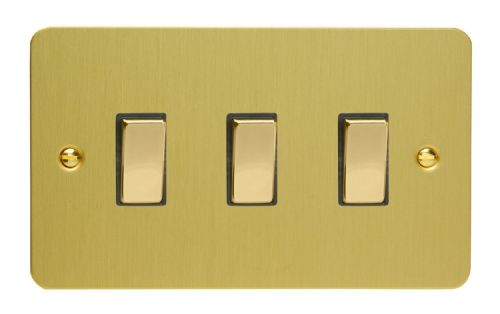 Varilight XFB93D Ultraflat Brushed Brass 3 Gang 10A 1 or 2 Way Rocker Light Switch (Twin Plate)